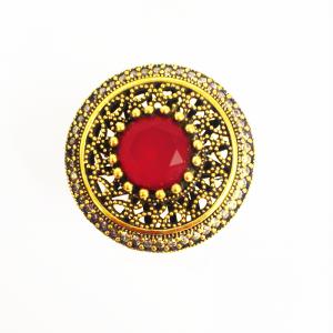 Кольцо с рубином и топазами