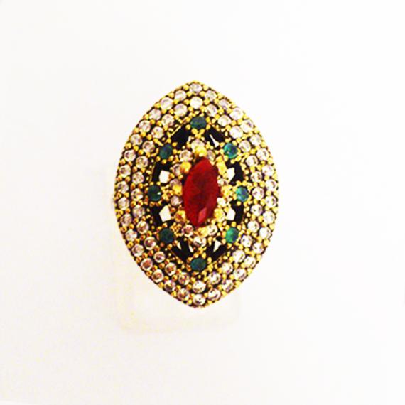 Кольцо с рубином, изумрудом и топазом