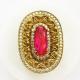 Крупное кольцо с рубином и топазами