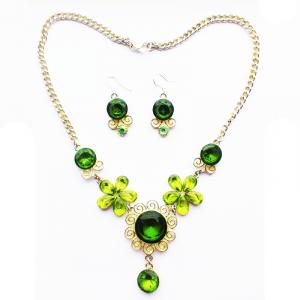 Комплект с зелеными камнями