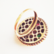 Кольцо с изумрудом, рубином и топазом
